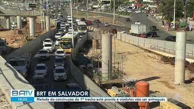 Obras do BRT Salvador: praça segue interditada e viadutos devem ser entregue esta semana - Segundo a Secretaria de Mobilidade, metade da construção do primeiro trecho está pronta.