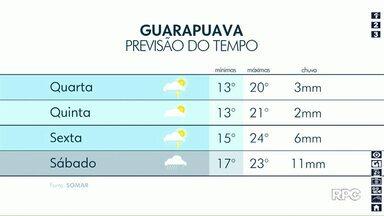 Chuva continua nesta quarta-feira em Guarapuava - Temperaturas também caem e mínima chega aos 13°.