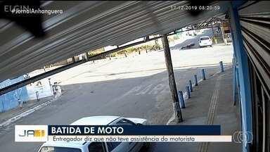 Motociclista que sofreu acidente de trânsito diz que não foi socorrido por motorista - Ele entrou em contato com a produção da TV Anhanguera para contar o que aconteceu. O acidente foi registrado por câmeras de segurança.