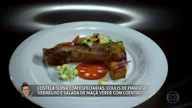 Amanda Grezzana apresenta Costela suína com especiarias, coulis de pimentão e salada - Claude e Batista experimentam o prato