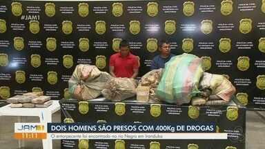 Dois homens são presos com 400 kg de drogas - Entorpecentes foram encontrados no Rio Negro, em Iranduba.