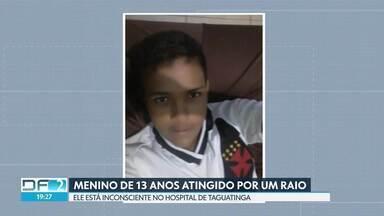 Continua internado o menino de 13 anos atingido por raio em Samambaia - Os bombeiros alertam para o perigo durante as tempestades.