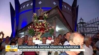 Romaria homenageia Nossa Senhora da Aparecida - Festa religiosa quer evitar fogos de artifício.