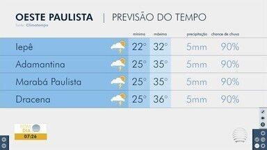 Terça-feira deve ser quente e pode ter pancadas de chuva - Confira a previsão do tempo para o Oeste Paulista.