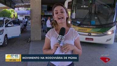 Aumenta movimento de rodoviárias no Sul do ES - Piúma, no litoral Sul do ES, turistas continuam chegando.