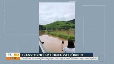 Candidatos não conseguem chegar pra fazer as provas em Sumidouro, RJ, e procuram a polícia - Motivo foi a interdição da RJ-148 por causa da chuva. A via liga Nova Friburgo a Sumidouro.