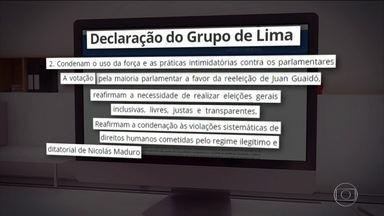 Grupo de Lima declara não reconhecer eleição na Assembleia da Venezuela - Novo presidente da Assembleia foi eleito sob suspeita de fraude. Até países que apoiam o presidente Maduro criticaram manobra contra a oposição.