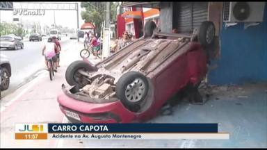 Motorista perde controle do carro, capota e atinge loja na avenida Augusto Montenegro - Motorista perde controle do carro, capota e atinge loja na avenida Augusto Montenegro