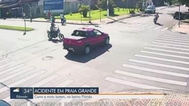 Câmeras flagram acidente envolvendo carro e moto em Praia Grande - Acidente aconteceu no bairro Flórida e motociclista foi levada para pronto socorro.