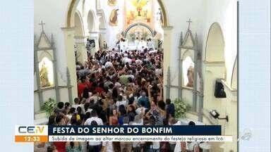 Subida da imagem do Senhor do Bonfim encerra festejo religioso em Icó - Saiba mais no g1.com.br/ce