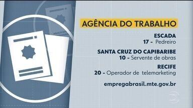 Agência do Trabalho tem vagas de emprego em diferentes cidades - Oportunidades são oferecidas no Recife, Santa Cruz do Capibaribe, Escada, entre outras.