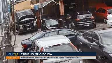Homem chega de bicicleta em oficina e atira contra mecânico - Crime foi por volta de 12h30, no bairro Cajuru, em Curitiba.