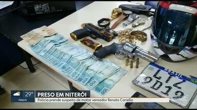 Polícia prende suspeito de roubar e ferir vereador em Niterói - Segundo a polícia civil suspeito foi preso em flagrante por porte ilegal de arma de fogo e teria roubado e ferido vereador Renato Cariello em 2018.