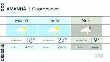 Previsão indica pancada de chuvas em Guarapuava nesta quarta-feira (08) - Mesmo assim temperatura pode chegar aos 27°C na cidade.