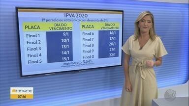 IPVA 2020: confira os prazos para quitação do imposto em São Paulo - Carros com placas 1 e 2 têm até esta semana para pagar cota única com desconto ou primeira parcela.