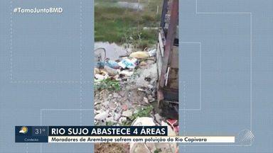 Moradores da RMS reclamam de poluição em rio que abastece 4 áreas na região - Lagoa da Caraúna e do Rio Capivara estão sujos.