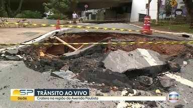 Cratera se abriu na região da Paulista - Rua Professor Picarolo está interditada.