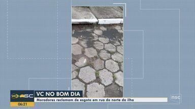 Quadro 'Você no BDSC': Moradores reclamam de esgoto em rua de Florianópolis - Quadro 'Você no BDSC': Moradores reclamam de esgoto em rua de Florianópolis