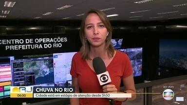 Acumulo de água nas pistas interdita trechos da Avenida Brasil - Previsão de chuvas fortes nas próximas horas. A cidade está em estágio de atenção.