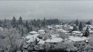 Neve cobre cidade no estado americano de Washington - Alerta de tempestade de inverno foi acionado por causa de nevasca.