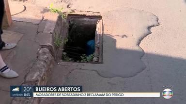 Moradores reclamam de bueiro aberto em Sobradinho II - Bueiro fica no setor de chácaras. Os moradores dizem que problema já dura seis meses e causa muitos riscos a quem passa pelo local.