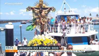 Saiba como foi o cortejo que conduziu a imagem do Senhor do Bonfim - Celebração nesta quarta-feira (15) levou a imagem em um catamarã até a Capitania dos Portos.