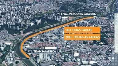 Parte da Marginal Pinheiros ficará bloqueada para obras da linha 17-ouro do monotrilho - Esses bloqueios já vinham ocorrendo no fim do ano passado, pararam e voltam agora, pelos próximos quatro fins de semana.