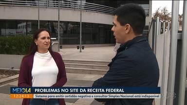 Contadores e contribuintes apontam problemas no site da Receita Federal - Sistema para emitir certidão negativa e consultar Simples Nacional está indisponível.