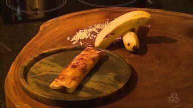 Na Cozinha: aprenda a fazer receita de panqueca com caramelo e banana - Receita é do chef Diogo Sabião, de Porto Velho.