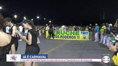Escolas de samba fazem ensaio técnico no Sambódromo do Anhembi - Blocos de carnaval começam a tomar as ruas da capital.