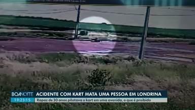 Câmera mostra momento em que kart bate em poste em Londrina - O rapaz de 30 anos pilotava o kart em uma avenida, o que é proibido. Ele morreu na hora.