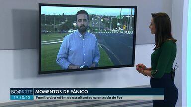 Família é feita refém em Foz do Iguaçu - O assalto foi no viaduto de acesso à cidade.