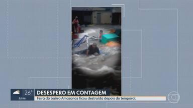 Feira do bairro Amazonas é arrastada por enxurrada em Contagem, na Grande BH - Comerciantes contabilizam prejuízos após chuva que levou tudo neste domingo (19).