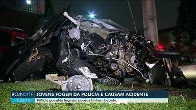 Perseguição policial termina em grave acidente na capital - Segundo a PM jovens fugiram de abordagem porque beberam.