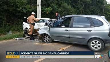 Acidente grave no Santa Cândida - Um mulher morreu em batida entre dois carros.