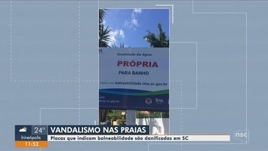 Placas de orientação são alvo de vandalismo em praias de Santa Catarina - Placas de orientação são alvo de vandalismo em praias de Santa Catarina