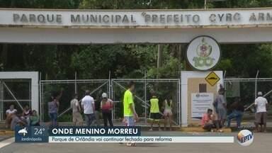 Parque da Gruta segue fechado após morte de menino levado por enxurrada em Orlândia, SP - Prefeitura informou que local passa por reformas.