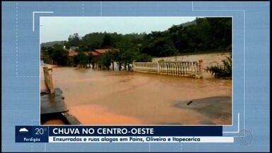 Veja repercussão da chuva em Itaúna, Pains e Oliveira - Ruas ficaram alagadas, casas foram invadidas pela água e rio transbordou.
