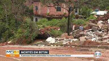 Pessoas são soterradas no bairro Duque de Caxias, em Betim, na Grande BH