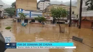 Moradores de Cataguases limpam cidade após chuvas deixarem estragos no fim de semana - Muitos moradores perderam móveis e objetos pessoais após o nível do Rio Pomba subir quase 10 metros. Chuvas causaram estragos em toda a região.