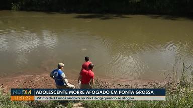 Adolescente morre afogado no Rio Tibagi, em Ponta Grossa - Vítima tinha 13 anos. Caso ocorreu na tarde de domingo (26).