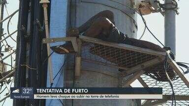 Homem é preso após ser eletrocutado tentando furtar fios de torre em São Carlos - Suspeito precisou ser resgatado pelo Corpo de Bombeiros a 40 metros de altura. Ele estava com a fiação cortada e foi encaminhado ao 2º Distrito Policial.