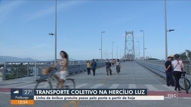 Linha de ônibus gratuita começa a passar pela Ponte Hercílio Luz em Florianópolis - Linha de ônibus gratuita começa a passar pela Ponte Hercílio Luz em Florianópolis