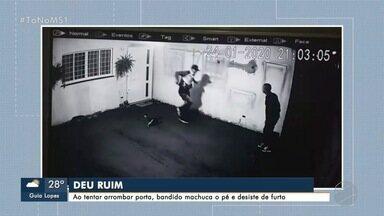 Vídeo mostra ladrão machucando a perna ao tentar invadir casa no Morada dos Deuses - Moradores reclamam da falta de policiamento no bairro