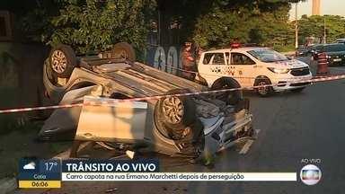 Carro capota depois de perseguição na Barra Funda - Acidente foi na Avenida Ermano Marchetti