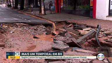 Região Centro-Sul de Belo Horizonte registra mais de 180 milímetros de chuva em 3 horas - Estragos são vistos na manhã desta quarta-feira (29) no bairro Lourdes.