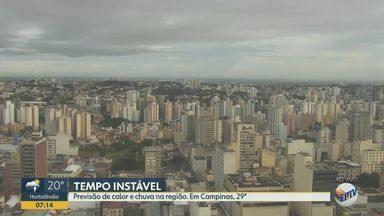 Cidades da região de Campinas registram chuva e calor nesta quinta (30); veja previsão - Em Campinas (SP), 7 milímetros de chuva são esperados e temperatura máxima chega a 29º C.