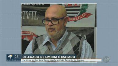 Delegado de Limeira é baleado em tentativa de assalto em São Bernardo do Campo - Policial e a esposa estavam dentro de carro quando foram abordados; ele reagiu e foi ferido, mas não corre risco de morte. Suspeitos fugiram com a arma e o celular da vítima.