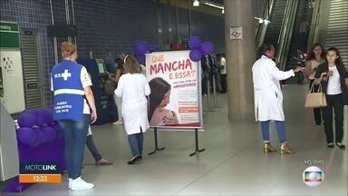 Campanha Janeiro Roxo chama atenção para a hanseníase - Só em 2017, foram quase 27 mil novos casos. Quem passa pelas estações Sacomã e Vila Prudente do metrô vai receber orientação até as 16h.