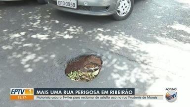 Motorista reclama de asfalto oco no Centro de Ribeirão Preto, SP - Problema ocorre na Rua Prudente de Morais.